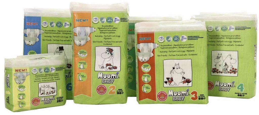 Současný design plenek Muumi Baby.