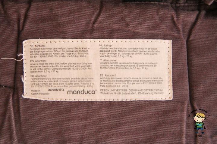 Cedulka Manduca PureCotton, Made in Czech Republic.. Vyrobeno v České republice = není padělek.