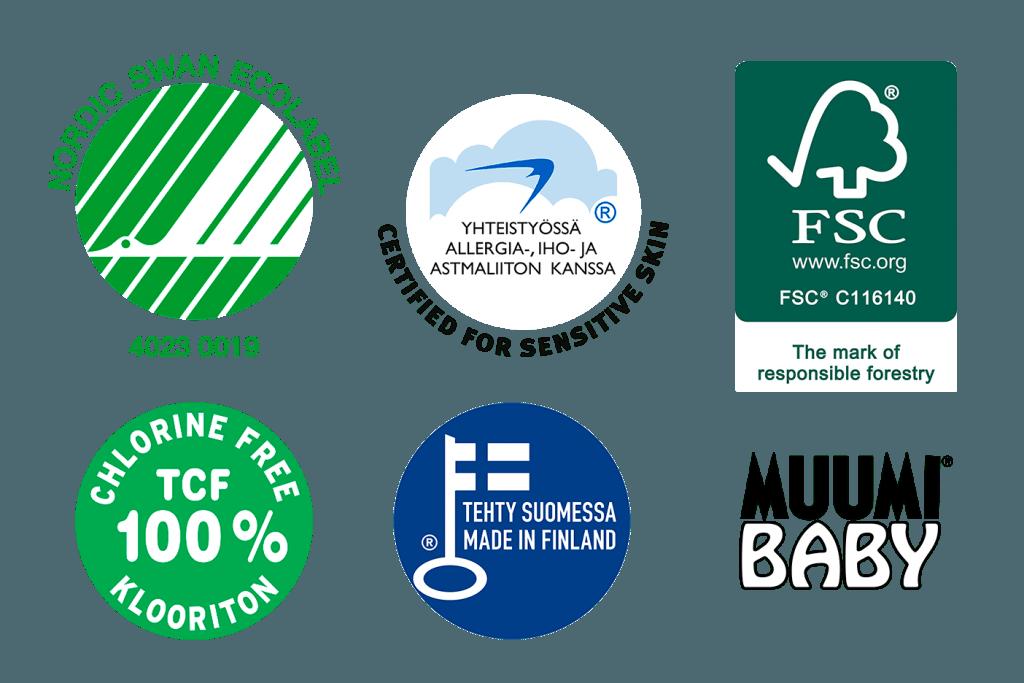Muumi Baby má na svém kontě řadu certifikátů, například Nordic Ecolabel, výrobu z certifikované buničiny FSC, 100 % bez použití chlóru, garance stálé kvality, navíc jsou pleny certifikovány pro citlivou pokožku.